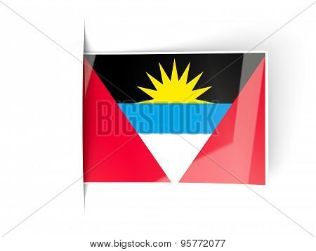 Square Label With Flag Of Antigua And Barbuda