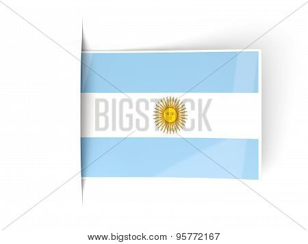 Square Label With Flag Of Argentina