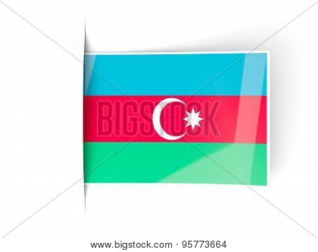 Square Label With Flag Of Azerbaijan
