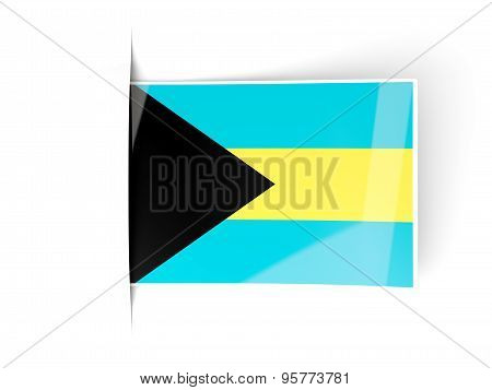 Square Label With Flag Of Bahamas