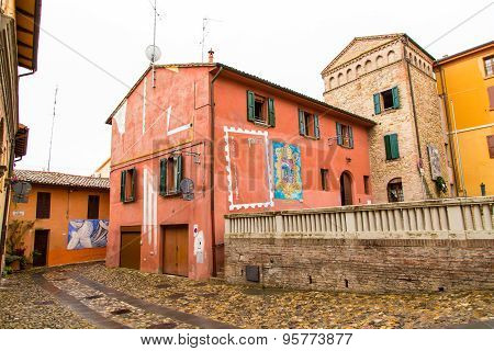 Houses and paintings view in Dozza. Emilia-Romagna. Italy.