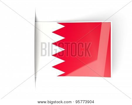 Square Label With Flag Of Bahrain