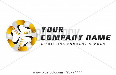 Logo template, coal plow, drilling bore, mining equpment