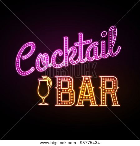 Neon Sign. Cocktail Bar