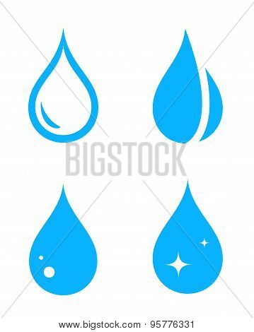 blue isolated droplet set