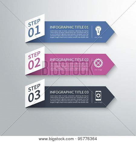 Modern 3d paper arrow infographic design elements in material style