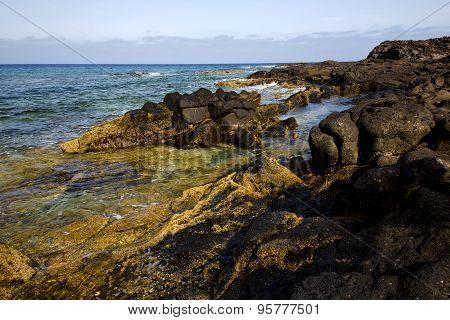 Spain  Pond  Stone Sky Coastline And Summer   Lanzarote