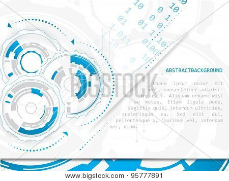 Technology vector abstract illustration with circuit board and gear wheels on a white background