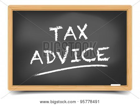 detailed illustration of a blackboard with Tax Advice text, eps10 vector, gradient mesh included