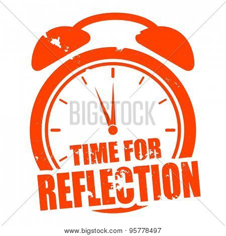 minimalistic illustration of a grungy clock with time for Reflection text, eps10 vector