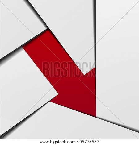 detailed illustration of a stylized red arrow down infographic background, eps10 vector
