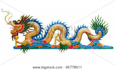 Chinese golden dragon statue isolate on white background. Clipping path.