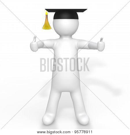 3d man with graduation hat