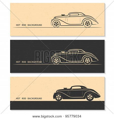 Set of vintage retro hot rod car silhouettes