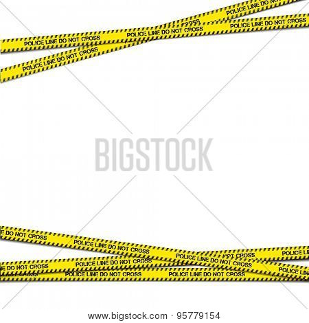 detailed illustration of crossing police tapes with blank copy space, eps10 vector