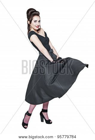 Young Beautiful Woman In Retro Pin-up Style With Fluttering Dress