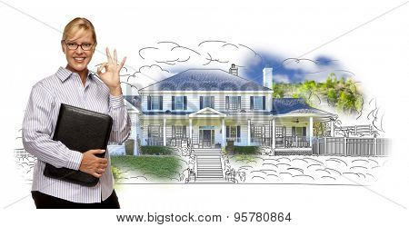Woman with Okay Sign and File Folder Over House Drawing and Photo Combination on White.