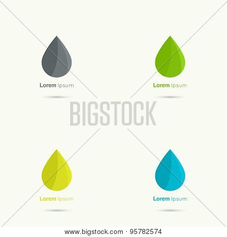 Set Water drop abstract vector