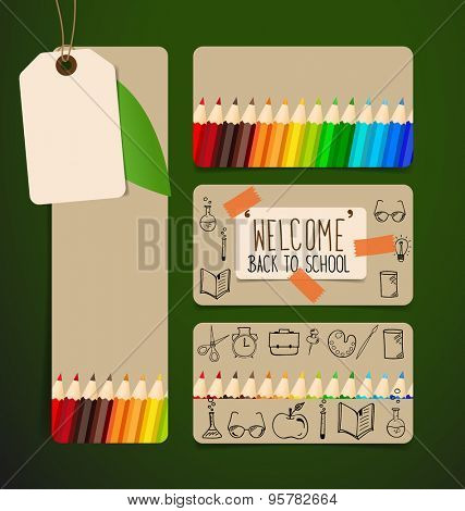Welcome back to school with Sale Coupon, voucher, tab and paper note, vector illustration.