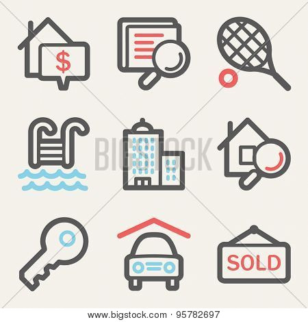 Real estate web icons, square buttons
