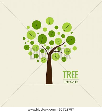 Abstract tree. Ecology concept with tree background. Vector illustration.