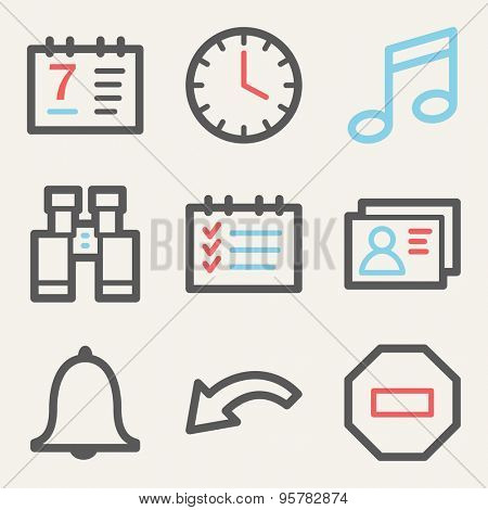 Organizer web icons, square buttons
