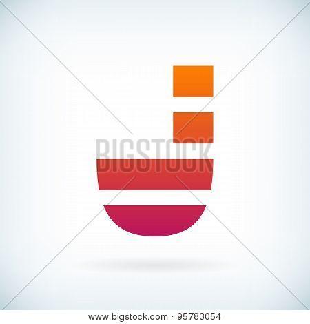 Stripes Letter J Icon Design Element Template