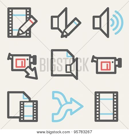 Audio video edit web icons, square buttons