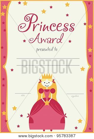 the certificate template princess girls birthday or party.