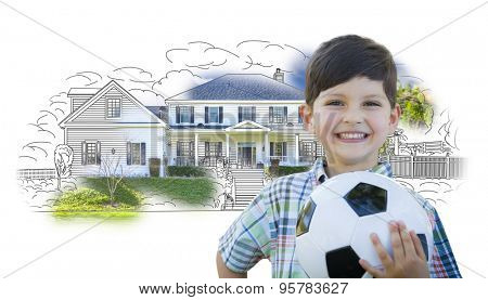 Cute Smiling Young Boy Holding Soccer Ball In Front of House Sketch Photo Combination.