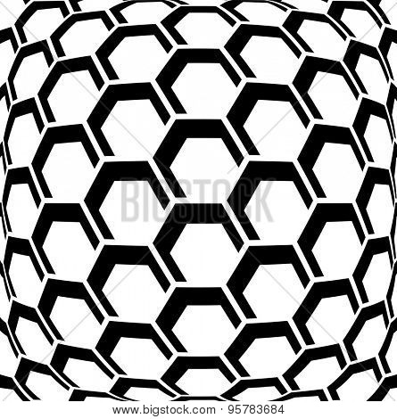 Geometric hexagons pattern. Abstract textured background. Vector art.