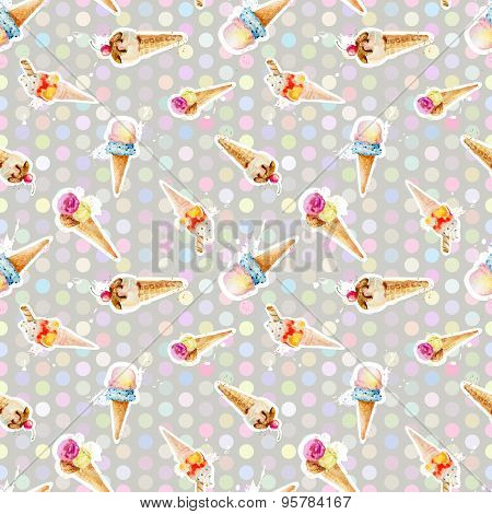Seamless Pattern With Ice Cream Cones On Background Of Colored Circles