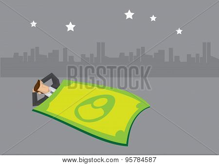 Businessman Sleeping Under Starlight With Money Blanket