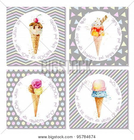 Set Of Postcards With Ice Cream In Cones.