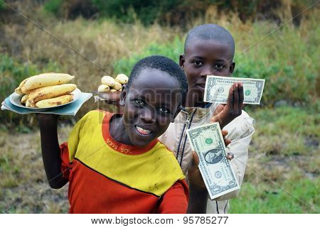 Uganda, Young Sellers Of Bananas