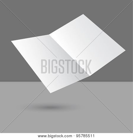 Hovering blank two fold paper brochure