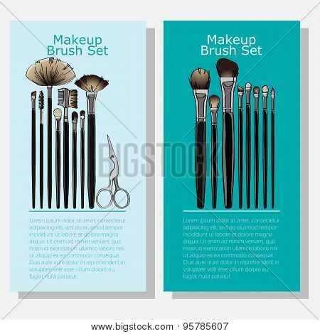 cosmetic banners with makeup brush set