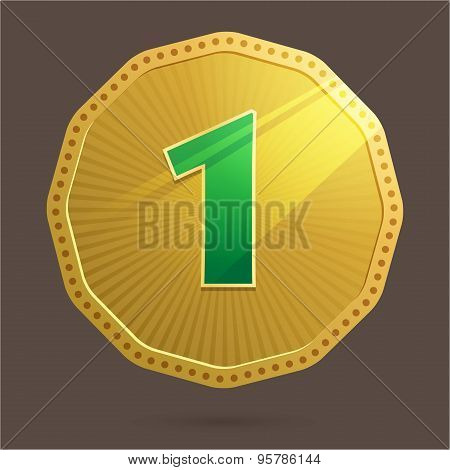 Gold Coin Number One Icon