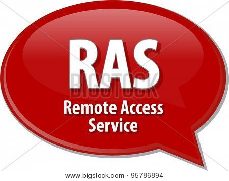 Speech bubble illustration of information technology acronym abbreviation term definition RAS Remote Access Service