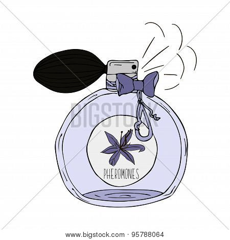 Hand Drawn  illustration of a perfume bottle with the scent of pheromones
