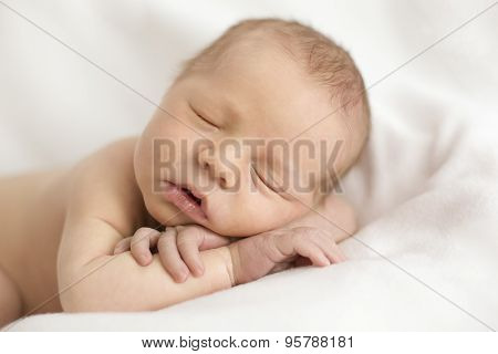 a newborn baby sleeps on their hands