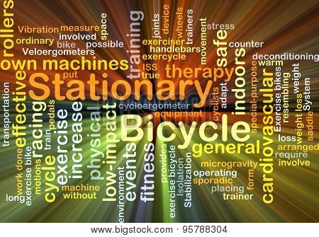 Background concept wordcloud illustration of stationary bicycle glowing light