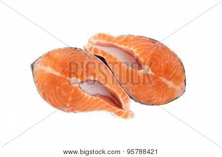 Two Raw Salmon Steakes
