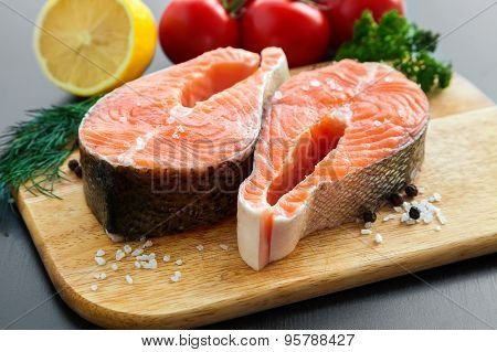 Salmon Steaks With Salt And Pepper