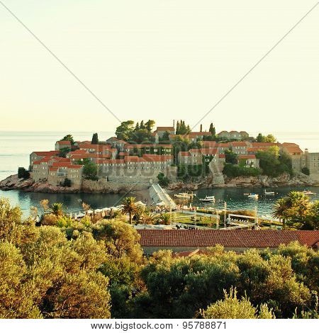 Sveti Stefan Island On Sunset (Montenegro)