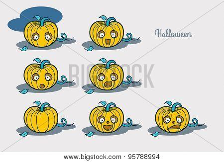 Halloween. Emotions characters pumpkin.