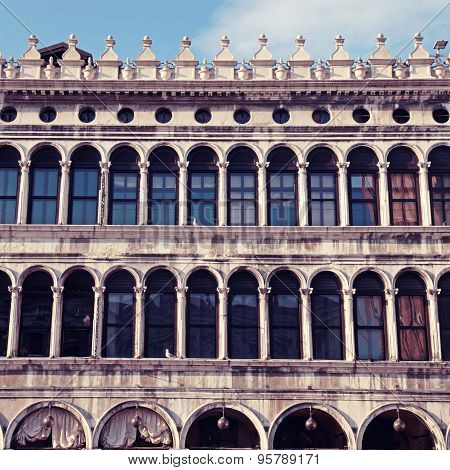 Facade With Arch Windows On Piazza San Marco, Venice