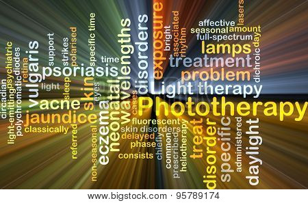 Background concept wordcloud illustration of phototherapy glowing light