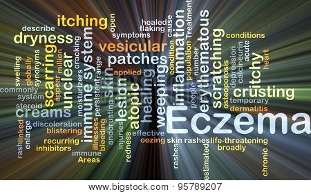 Background concept wordcloud illustration of eczema glowing light