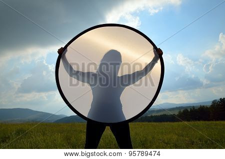 Silhouette Of Young Woman In Landscape